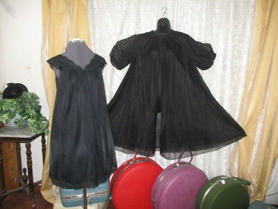 "VTG 122"" Sweep Double Chiffon Sissy Peignoir nightgown Robe Baby Doll M/L/XL"