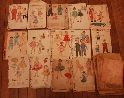 Lot Vintage Sewing 40s 50s 60s Children Dress Pinafore Overall Transfer Patterns