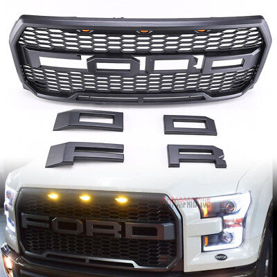 Raptor Style Front Bumper Grille LED For 2015-2017 16 Ford F-150 w/ F&R Letters