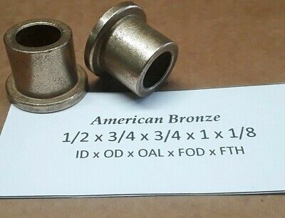 "Qty 2pc, Bronze Flanged Bushing,Oilite, FB-812-6, 1/2""x 3/4""x 3/4"" Made In USA"