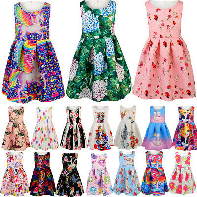 Kids Baby Girls Toddler Sleeveless Flower Print Princess Party Tutu Mini Dress