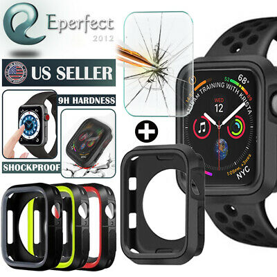 Case Cover Bumper for Apple Watch Series 5/4/3/2 Tempered Glass 40/44MM 38/42MM