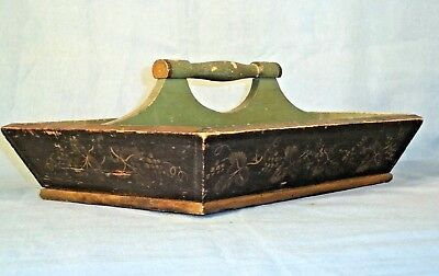 ANTIQUE 19th CENTURY CANTED KNIFE CUTLERY TRAY IN ORIGINAL STENCILED PAINT