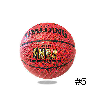 d0f7c058f1d Spalding Gold NBA Indoor   Outdoor Pattern Leather Basketball Size 5 Game  Ball