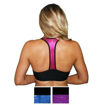 T Back Double Lined Sports Bra - Black with Multi Coloured Hologram Panels
