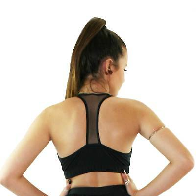 T Back Double Lined Sports Bra - Black with Mesh Panels
