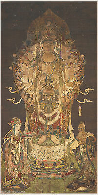 Japanese old scroll painting Thangka Buddhist theme Thousand armed Guan Yin