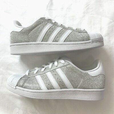 reputable site 31ca6 398cd ADIDAS SUPERSTAR SILVER Glitter White Rubber Shell Toe S75125 US 6