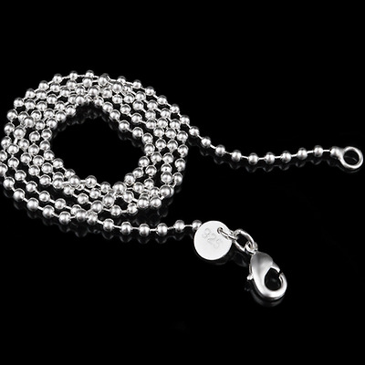 "Unisex 925 Silver Plated 2.4MM Stainless Steel Beads Ball Chain Necklace 16""-24"""