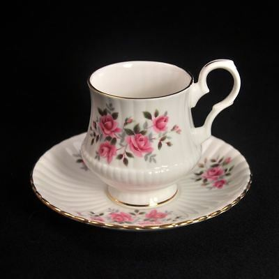 Royal Windsor Hammersley Footed Cup & Saucer 1950-1970 Pink Roses Fluted Gold
