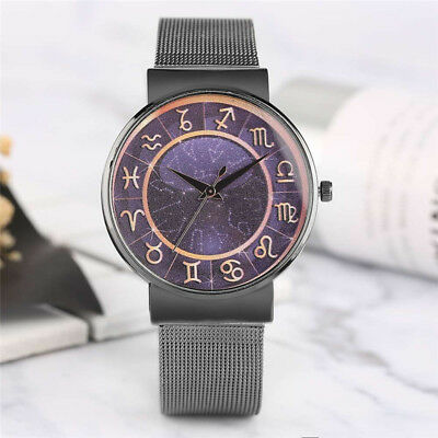Fashion Constellation Black/Silver/Rose Gold Woman's Quartz Watch Steel Bracelet