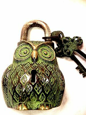 Vintage Owl Lock Functional Antique Brass Pad Lock With Two Keys