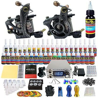 Tattoo Kit 2 Machine Guns Complete Set 40 Ink Power Pack Needles Grip Tip TKB03