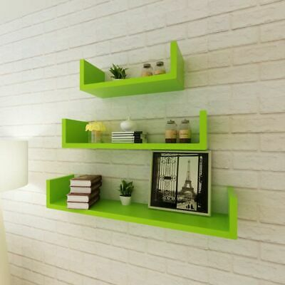 3 MDF Floating Cubes Wall Storage Book CD Display Shelves U-shaped Green