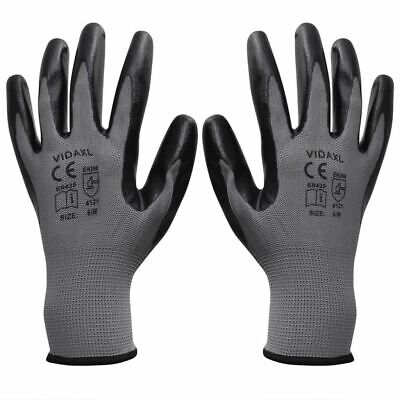 Work Gloves Safety Protection Nylon Nitrile 24 Pairs Grey and Black Size 10/XL