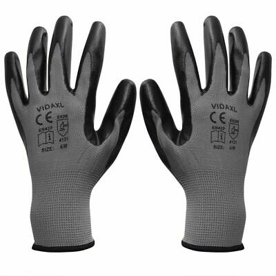 vidaXL Work Gloves Nitrile 24 Pairs Grey and Black Size 10/XL Safety Protector