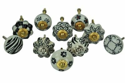 Set of 10 Black & White Floral Ceramic Cupboard Cabinet Knobs Drawer Pull