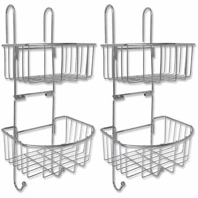 vidaXL 2 pcs Two-Tier Shower Shelves Bathroom Corner Storage Organisers Metal