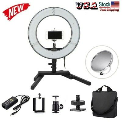 "US Dimmable Diva LED Mini Ring Light 14"" / 34.5cm 40W Mirror Stand Makeup Studio"
