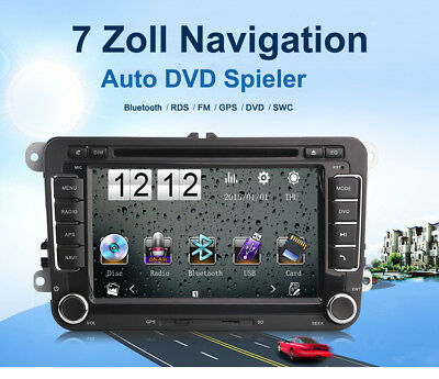 "7 ""HD Autoradio DVD Player GPS Navigation 8GB+256MB Bluetooth FM + Europa Karten"