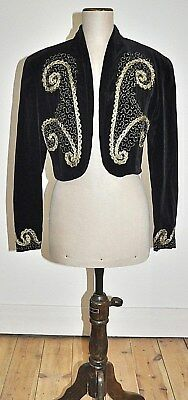 Vintage 80's 'THOMAY' Embroidered Velvet Bolero Jacket