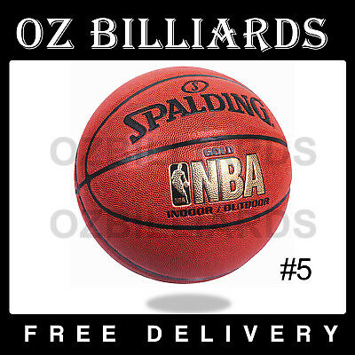 Spalding Gold NBA Indoor / Outdoor Pattern Leather Basketball Size 5 Game Ball