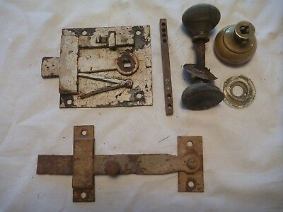 vintage door latch with sliding bolt and handles + old gate latch. no keeps