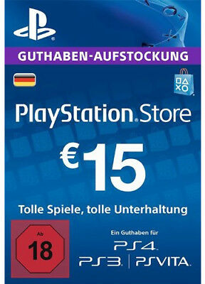 DE €15 EUR PLAYSTATION NETWORK Prepaid Card PSN PS3 PS4 PSP 15 Euro