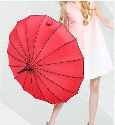 Vintage Pagoda Parasol Sun/Rain Proof Umbrella Wedding Bride Ornament 4 Colors