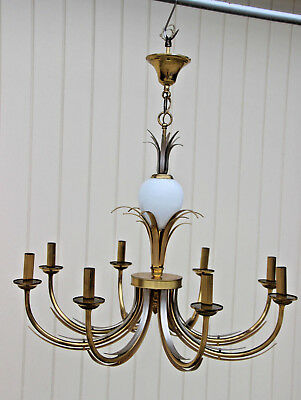 Modernist Brass Opaline glass egg leaves pineapple Attr maison jansen chandelier
