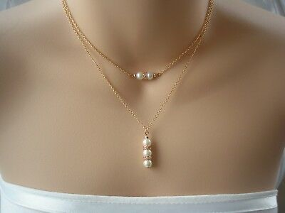 Layered Pearl Diamante Drop Necklace Multi Chains Choker Double Layer Two 3UAD