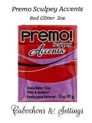 RED GLITTER Premo Sculpey Accents Polymer Clay
