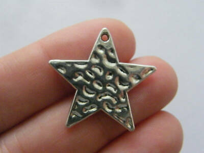BULK 30 Star charms antique silver tone S31