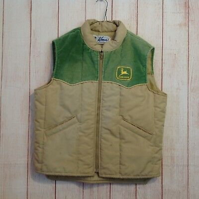 Vintage 70s John Deere Tan And Green Puffy Ski Vest Button Front Mens L