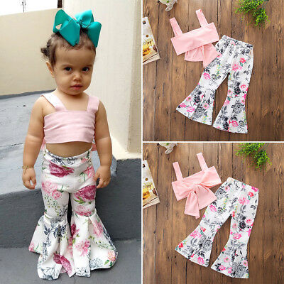 US Stock Fashion Kids Girls Strap Bowknot Tops Floral Pants Outfits Clothes 1-6T