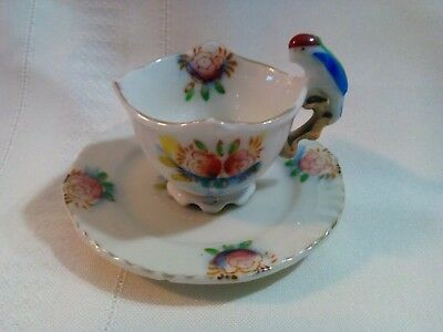 Vintage Miniature Hand Painted China W/ Parrot Handle Tea Cup & Saucer - Japan