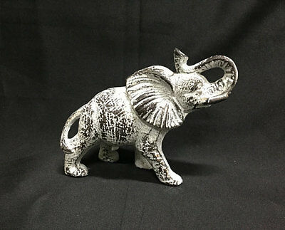 Cast Iron Antique White Elephant Statue