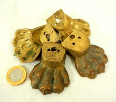 4 Antique Brass Lions Paws Claws Decorative Furniture Feet Reclaimed Victorian