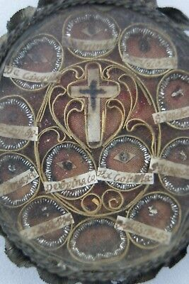 † 17Th True Cross Dnjc + Bvm + John + Elizabeth Multi Reliquary 12 Theca Relics
