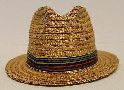 bd7fd4d15be Vintage Straw Fedora Hat Size 7 Golden Brown w  Rainbow Ribbon Band Made in  USA