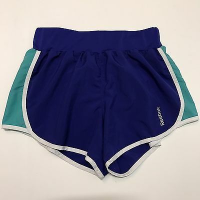 Reebok Womens Small Shorts Play Dry Blue Green Loose Fit Running Lined S