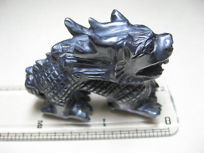 "Hematite Carved Dragon - Measures 2"" Long X 1.5"" Wide - Vintage"