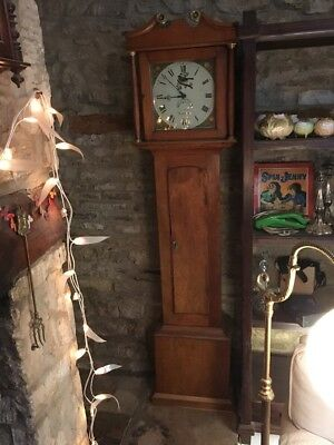 Neat Little Georgian Fruitwood Longcase Clock John Kent Monmouth