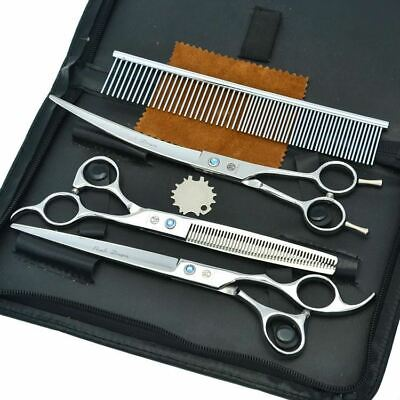 "7.0"" Professional Dog Grooming Scissors Set Pet Cutting & Thinning & Curved Shea"