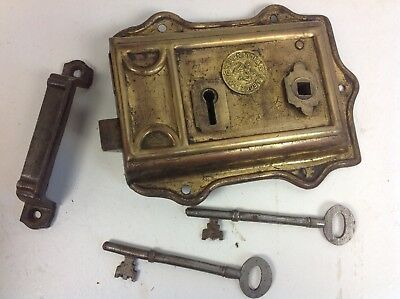 Vintage brass rim door surface lock keys cast iron keep old reclaimed