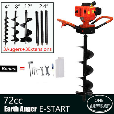 3000W 72cc 2-Stroke Power Engine One Man Post Hole Digger +3 Bits +3 Extensions
