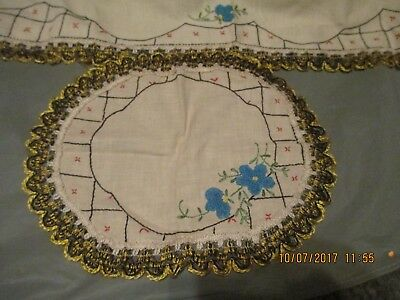 Vintage table runner with matching doily~floral ~butterflies