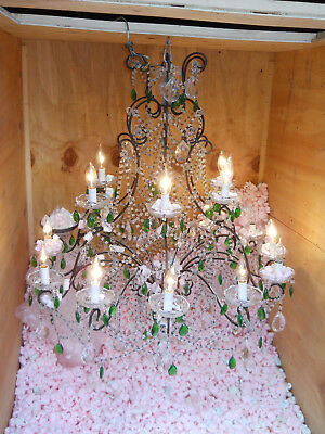 Antique Vintage French Crystal 18th Century Chandelier 18 Light 40 x 33 Green