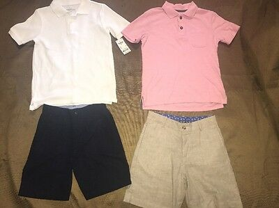 6 Polo Shirts, Khaki Linen Shorts Navy Pink White Janie And Jack LOT OF 4 Boys