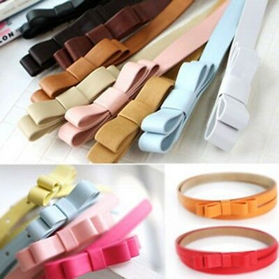 Fashion Candy Color Ladies Women Bow Girl Bowknot Skinny Leather Thin Waist Belt